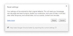 reset settings chrome